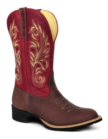 Bota Country Texana Couro C Horse Fossil Femin Cafe Vermelho