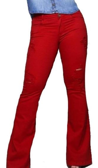Calça Verbo Jeans Flare Com Navalhados Vermelha