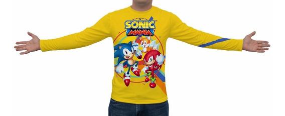 Camiseta Sonic Mania 2017 - Manga Longa