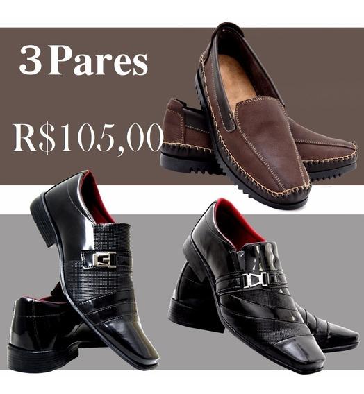 Sapatos Social Masculino Verniz+1 Par De Sapatilha Couro