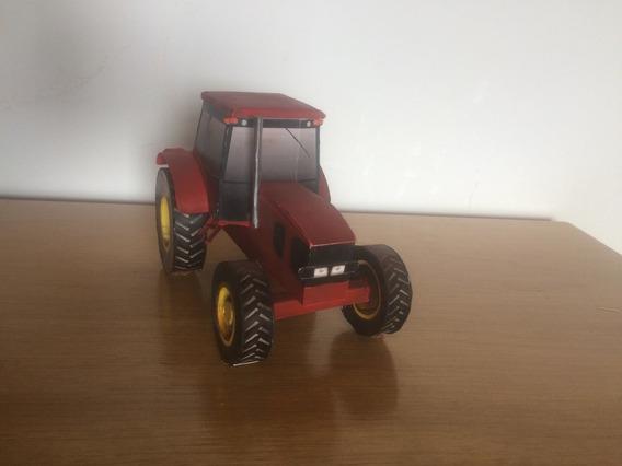 Trator John Deer Vermelho 1/35 Papermodel Miniatura