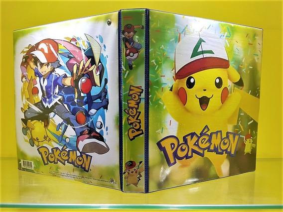 Fichário Álbum Pasta Pokemon Pikachu + 05 Folhas + 06 Cartas