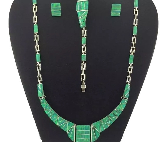 J1 Juego Collar Pulsera Aretes De Plata 925 Con Piedra Opalo
