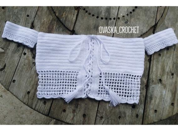 Crop Top Tejido En Crochet