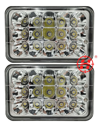 Kit 2 Farol Led Retangular 45w 15 Led Plug H4 9~80v Caminhão