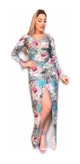 Vestido Feminino Longo Manga Longa Envelope Transpassado