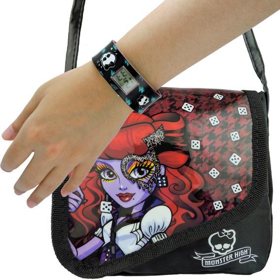 Kit Monster High Relógio De Pulso Digital + Bolsa Operetta