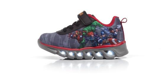 Zapatillas Atomik Marvel Grises Velcro Luces Avengers