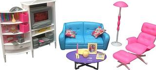 Muebles La Sala Estar Muñecas En Tamaño Barbie Original + Tv