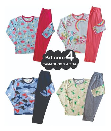4 Pijamas Femininos Inverno Frio Masculino Infantil Juvenil