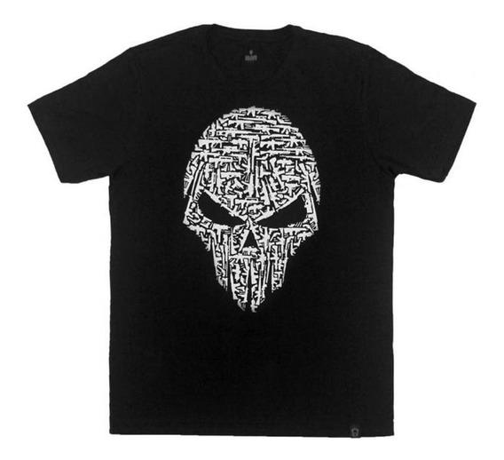 Camiseta Estampada Caveira/armas