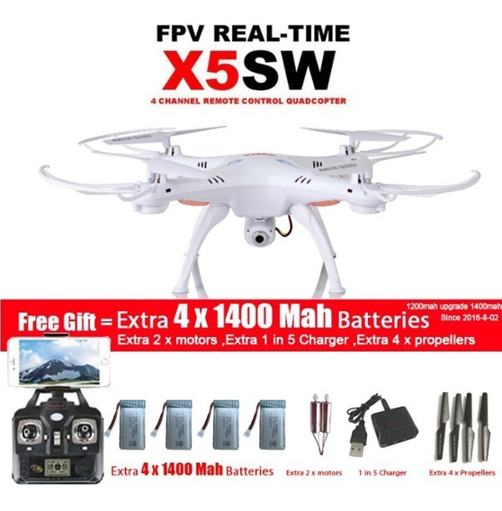 Drone Syma X5sw, Wi-fi 2 Mp,+5 Baterias-pronta Entrega! Novo