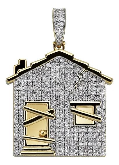 Pingente Trap House Banhado A Ouro C/ Corrente Corda 60cm