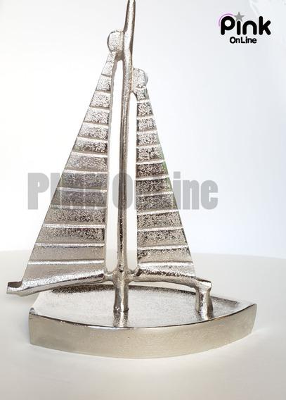Adorno Figura De Velero Aluminio Fundido