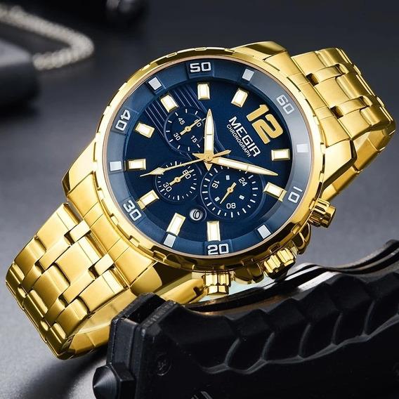 Relógio Luxo Megir 2068, Frete Grátis Região Nordeste