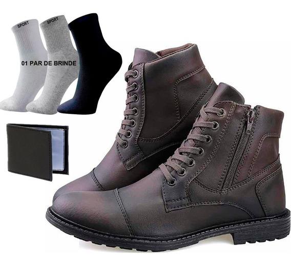 Sapato Botinha Casual Social Masc Bota Coturno Ziper 3x1 Kr