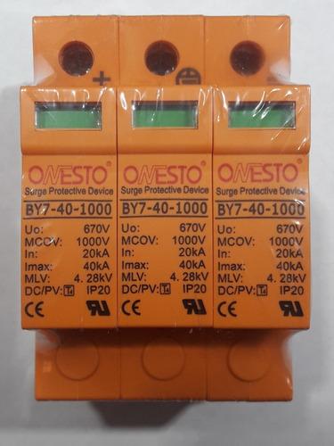 Imagen 1 de 3 de Protector Contra Descargas Rayos 1000v Dc 3 Polos By7-40