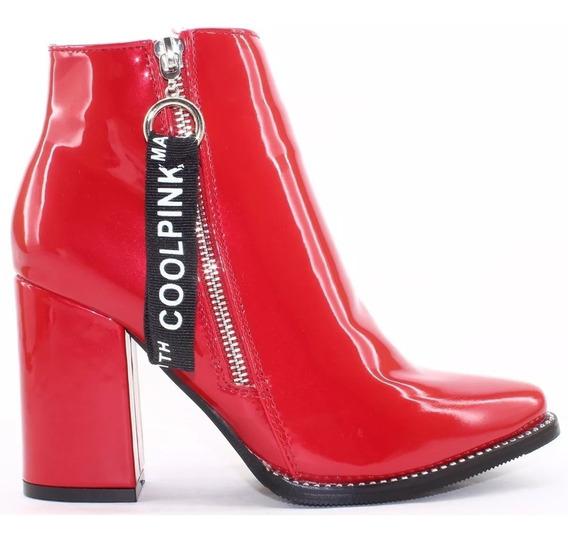 Cool Pink Kate Bota Botineta Charol Negro Rojo Mujer Dama