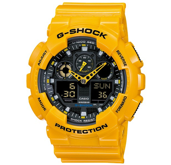 Relógio Casio G-shock Ga-100a-9a Ga100 Ga100 9a Amarelo
