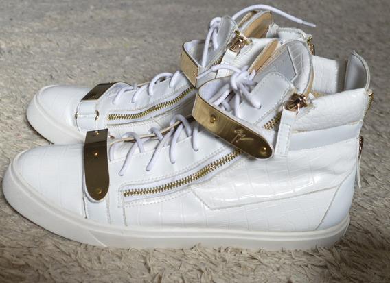 Tênis Sneaker Giuseppe Zanotti Branco E Dourado Original