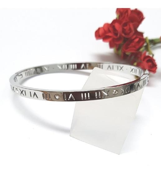 Bracelete Rígido Folheado Modelo Números Romanos E Cristais