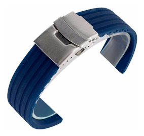 Pulseira Borracha Silicone Azul 24mm C/ Fecho Deployant