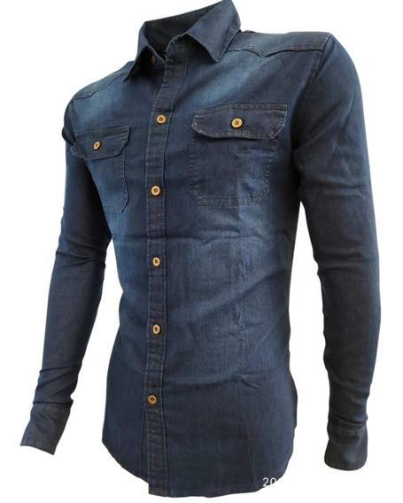 Camisa Jeans Masculina Slim Fit Social Nacional Manga Longa