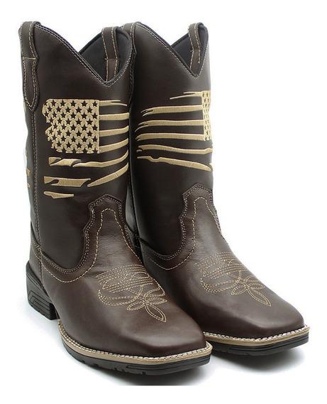 Bota Texana Masculina Country Usa Couro Oferta