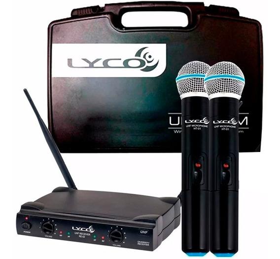 Microfone Sem Fio Duplo De Mão Uhf Uh02mm Lyco Profissional