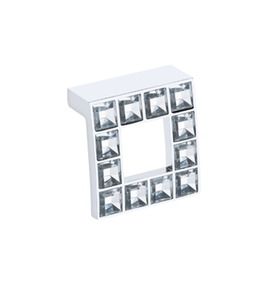 Puxador Para Móveis Cromado Com Vidro Incolor - Unico - Crom