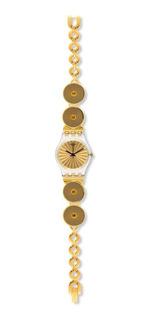 Reloj Analogo Mujer Swatch Importado Dorado Acero Inox Unico