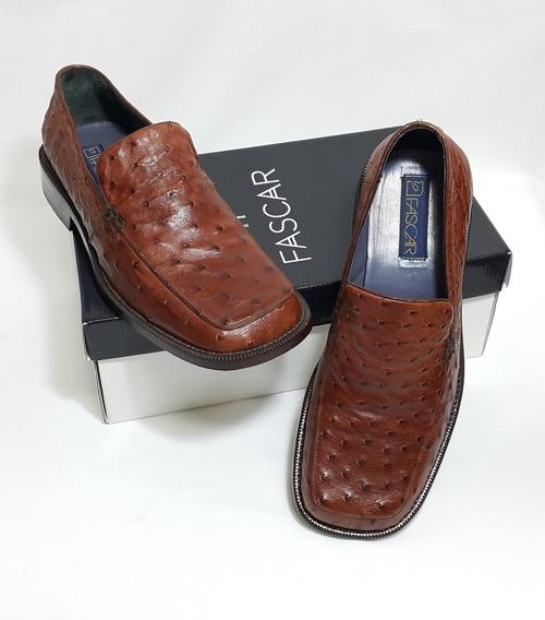 Sapato De Couro De Avestruz Legítimo Cor Caramelo
