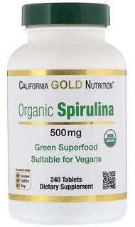 Spirulina Orgânica 500mg California 240 Cápsulas Importada