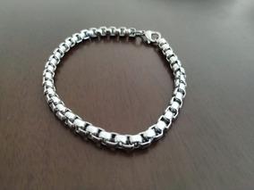 Pulseira Bracelete Veneziana Em Aço Inox 21 Cm