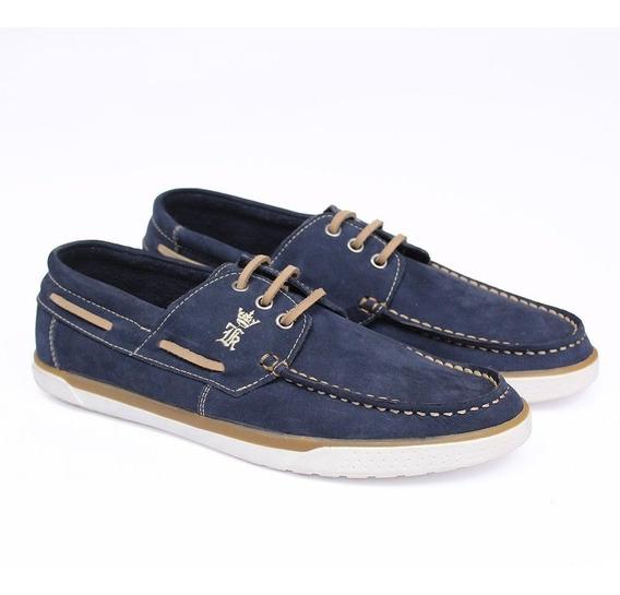 Sapato Casual Estilo 100% Couro Homem Moderno Azul