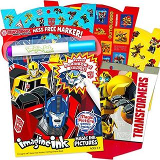 Transformers Imagine Ink Coloring Book Super Set Con Más De