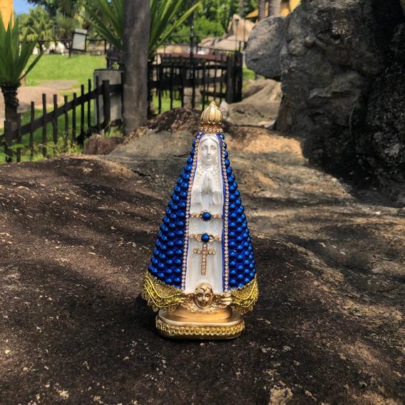 Nossa Senhora Aparecida 20cm Perola Azul Centro Branco Gesso