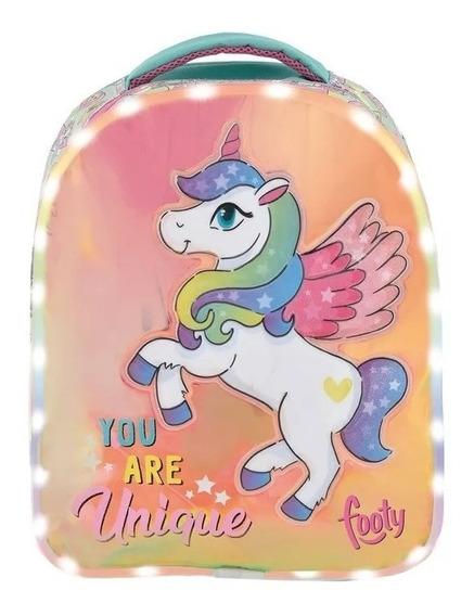 Mochila Footy Con Luces Led Unicornio Espalda Chica 14 Fty