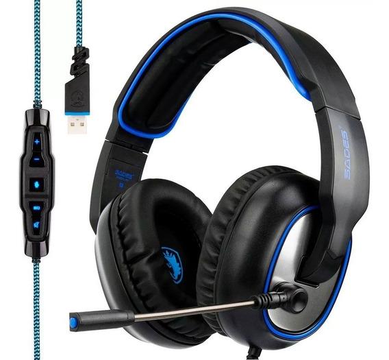 Headset Headphone Sound 7.1 Usb Pc Ps4 Ps3 Gamer Sades R7