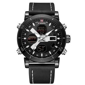 Relógio Naviforce 9132 Masculino Preto Original Couro Frete