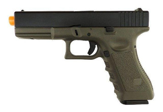 Pistola Airsoft Gbb Glock R17 Blowback Verde Green Gás