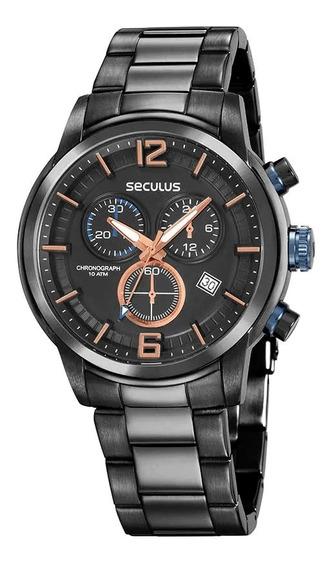 Relógio Seculus Masculino Ref: 13040gpsvta2 Cronógrafo Black