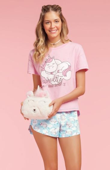 Short Doll Teen 100% Algodão Unicorn Forever Verão 2019