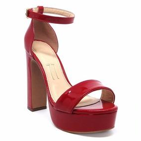 d36e4d0450 Sapato Meia Pata Vermelho Verniz Salto Grosso Outros Tipos - Sapatos ...