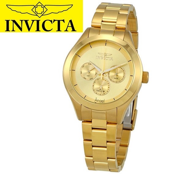 Relógio Feminino Invicta Angel 12466 Banhado Ouro 18k Anjo Original Garantia Nota Fiscal Brinde Oferta Joclock Store