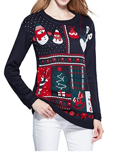Las Mujeres Navidad Suéter, V28 Feo Damas Chica Junior