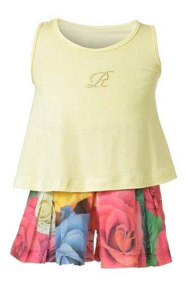 Set De Short Floral Con Blusa Amarilla Talla 1,2,3,4,5, 6, 7, 8 (importado)