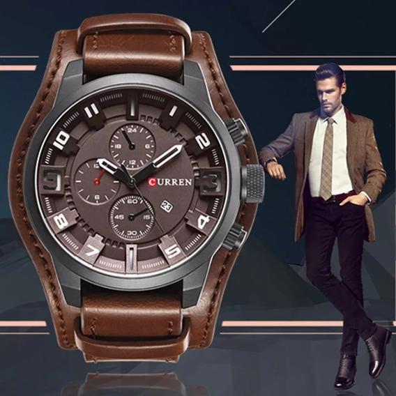 Relógio Masculino Curren Couro Impecável Marron + Brinde