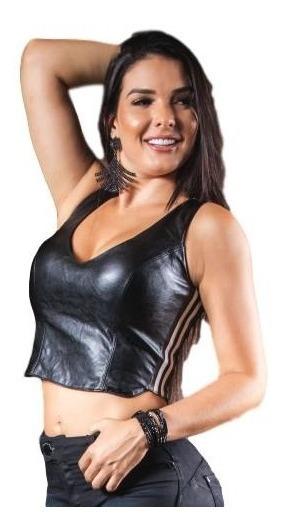 Blusa Cropped Pit Bull Jeans 27872 Couro Telinha Promoção
