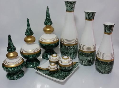 Imagem 1 de 4 de Conjunto Cerâmica Jogo De Vasos Redondo + Style + Fruteira